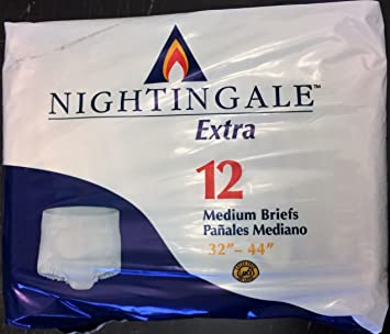 Nightingale Extra Adult Briefs, Medium 32- 44 12 Each Bag