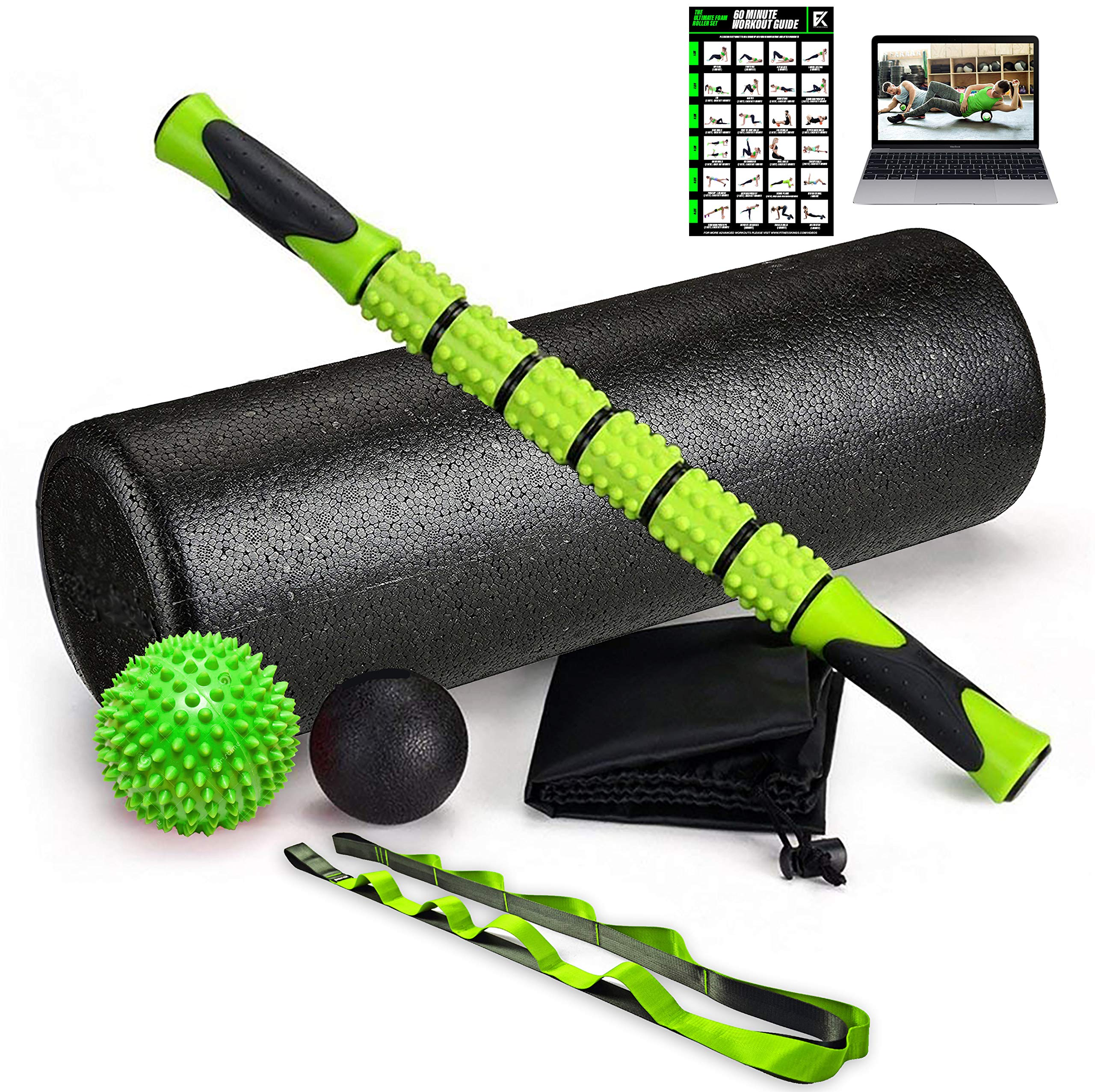 Fitness Kings The Ultimate Foam Roller Set - Large 18'' Foam Exercise Set with Massage Stick, Spiky Massage Ball, Deep Tissue Ball Massager & Yoga Strap - Home Gym Set for Pilates - W/Workout Program
