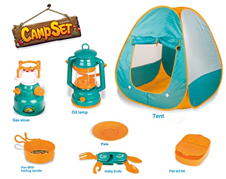 Little Explorers Pop Up Play Tent With Camping Gear Toy Tools Set For Kids 7