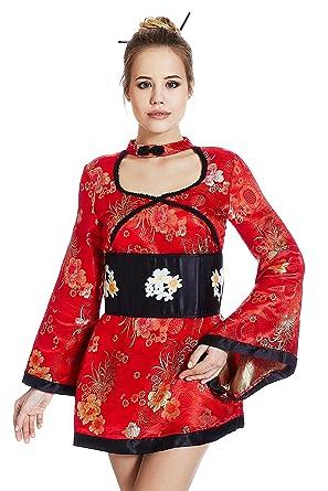 Adult Geisha Girl Costume Role Play Dress Up Geiko Asian Japanese Kimono Cosplay (X-
