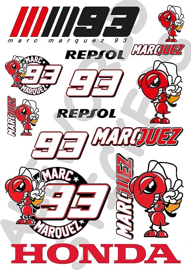 AWS Kit 12 Pegatinas Replica Marc Marquez 93 Stickers Impermeables para Coche Moto formatos A4 o A3 Precortados al Plotter Hormiga roja Waterproof Moto GP (Hoja A4 (21 x 29,7 cm)): Amazon.es: