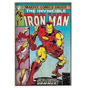 "Silver Buffalo MC1536 Marvel Iron Man ""Hammer"" MDF Wood Wall Art, 13 x 19 inches"