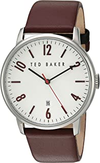 5fd16674c5b2 Ted Baker Men s Modern Visual Stainless Steel Japanese-Quartz Watch with  Leather Strap