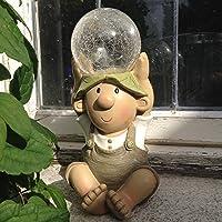 Elfo de adorno para jardín, con iluminación solar