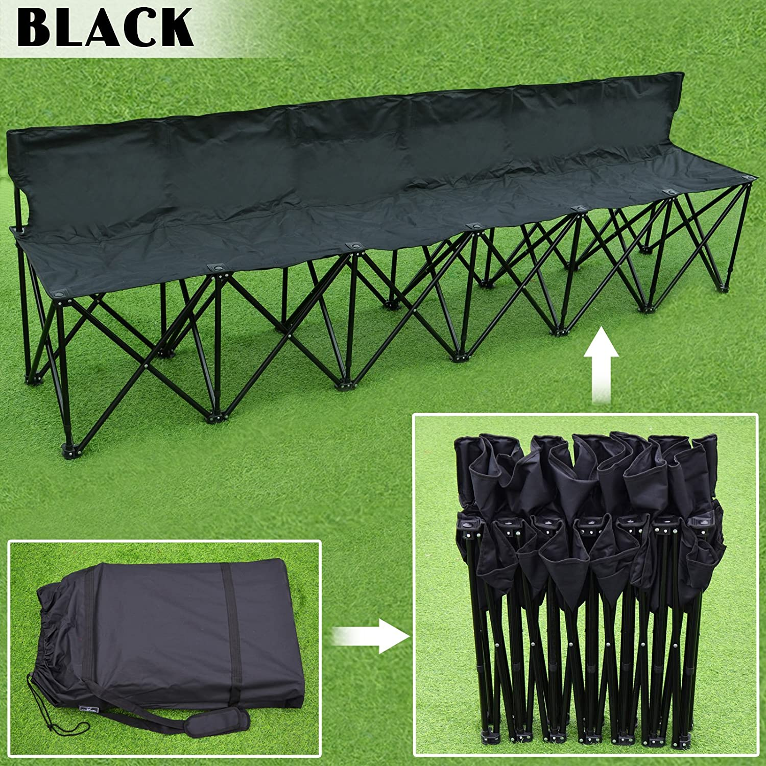 Yaheetech 6 Seats Foldable Sideline Bench with Back for Sports Team Camping Folding Bench Chairs Blue//Black Renewed
