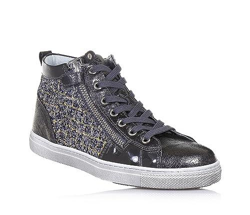 Nero Giardini Sneaker stringata grigio scuro in pelle e glitter ... af843a9ce02