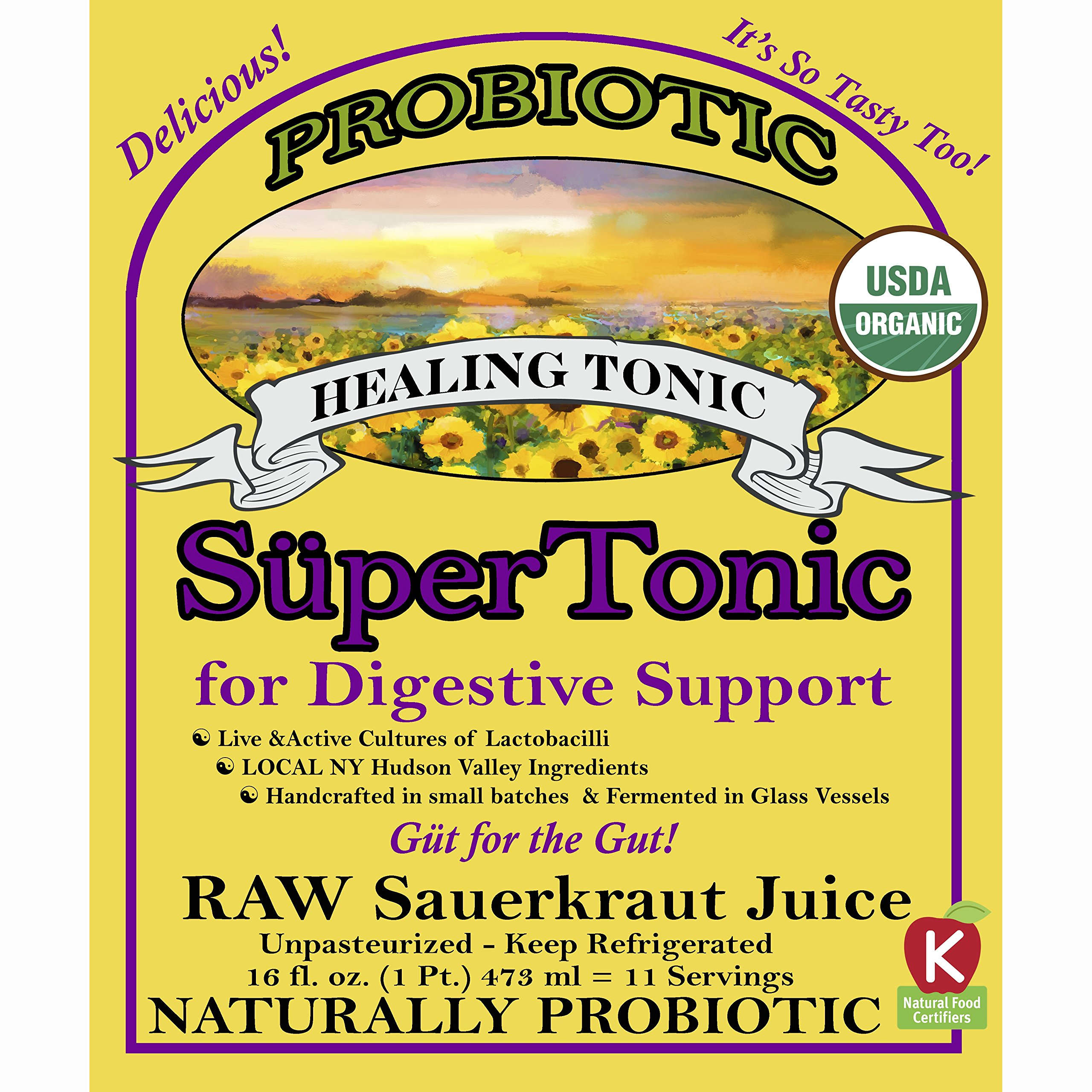 """Healing"" SuperTonic for digestive support: organic, probiotic. 11 servings/bottle. No shipping charges with minimum. Pure juice of raw fermented sauerkraut, unpasteurized, kosher, vegan, gluten free. by Superkrauts"