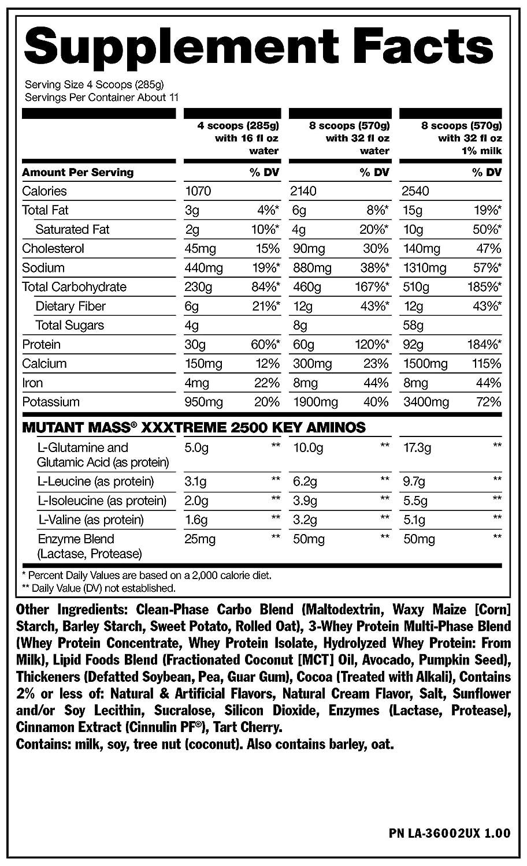 Mutant Mass Xxxtreme 2500 Triple Chocolate - 3178 gr: Amazon ...