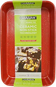 casaWare Toaster Oven Baking Pan 7 x 11-inch Ceramic Coated Non-Stick (Red Granite)