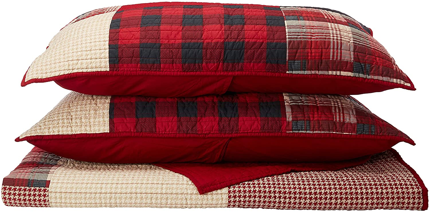 Woolrich Sunset Full/Queen Size Quilt Bedding Set - Red, Plaid – 3 Piece Bedding Quilt Coverlets – Cotton Bed Quilts Quilted Coverlet E&E Co. Ltd WR14-1730