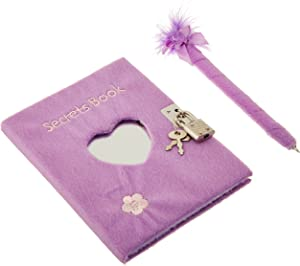 Rhode Island Novelty Teen Locking Diary Girl fts Plush Heart Journal with Mirror Feather Boa Pen, Assorted Colors 1 Diary