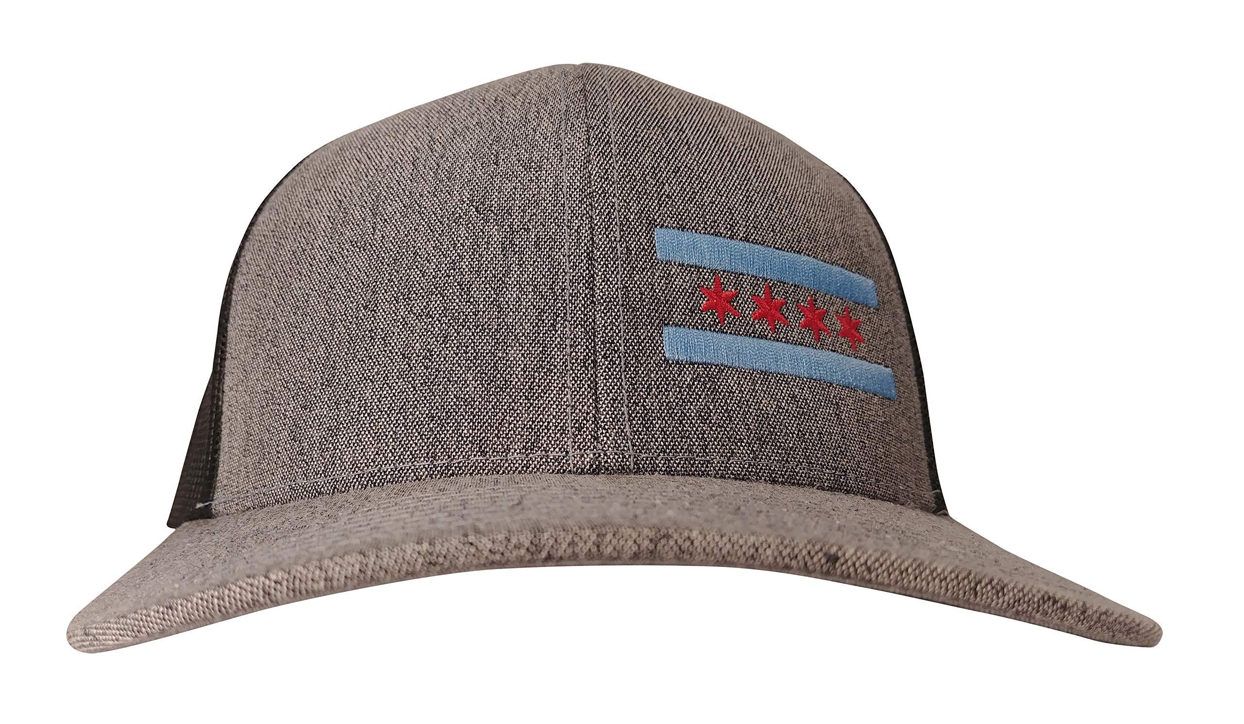 cba09de0dd1 Chicago Flag Embroidered Trucker Hat Medium Profile Curved Brim (Heather  Grey Black)