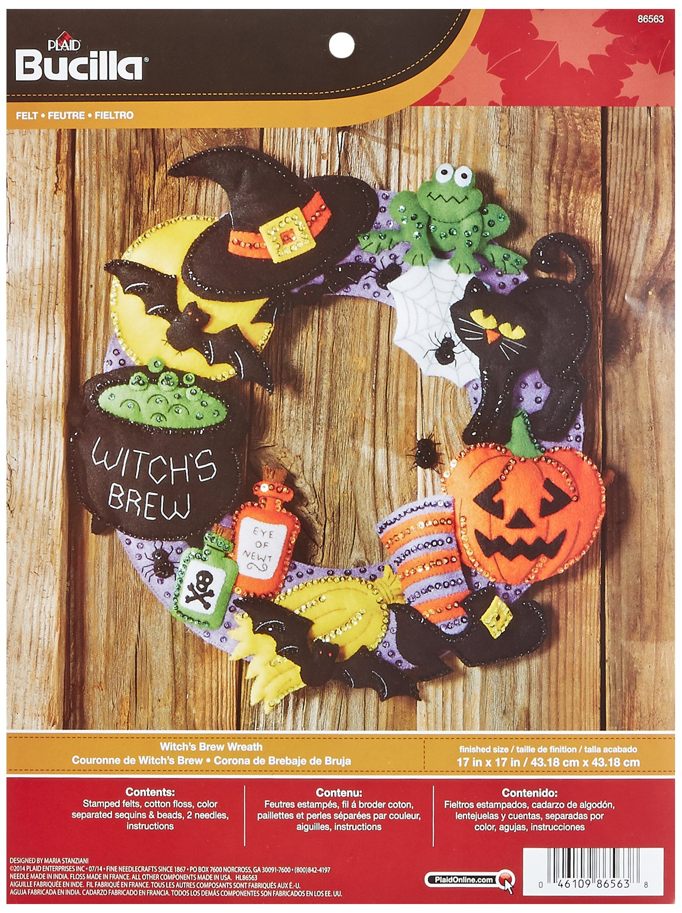 Bucilla Felt Applique Wall Hanging Wreath Kit, 17 by 17-Inch, 86563 Witchs