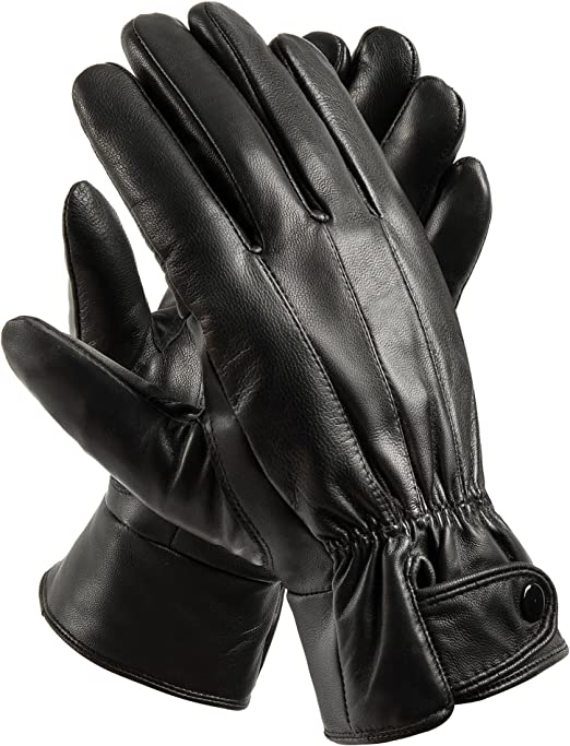MEN/'S WINTER FASHION DRESS GLOVES FULLY LINED REAL SOFT SHEEP BLACK LEATHER