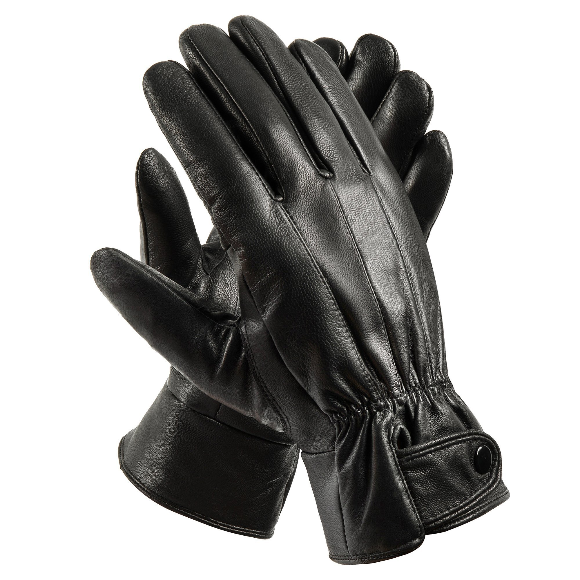 Anccion Men's Genuine Leather Warm Lined Driving Gloves, Motorcycle Gloves (Medium)
