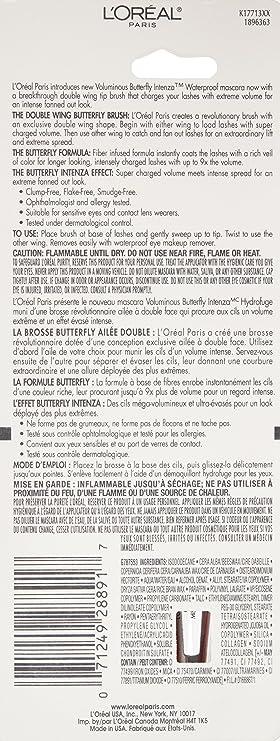 LOreal Paris Voluminous Butterfly Intenza Waterproof Mascara, 381 Blackest Black, 0.23 Fluid Ounce by LOreal Paris: Amazon.es: Belleza
