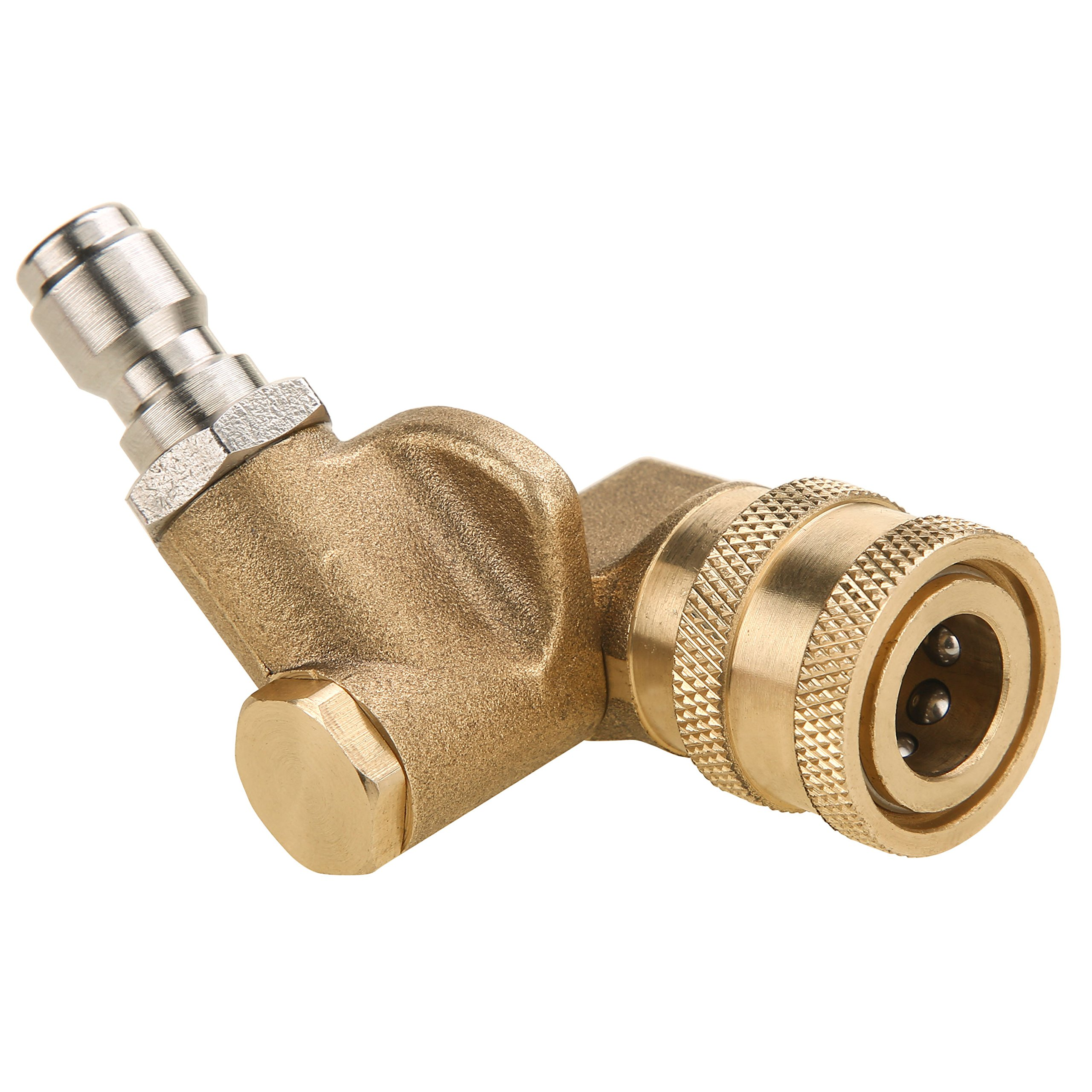 "Tool Daily Quick Connecting Pivoting Coupler for Pressure Washer Nozzle, Cleaning Hard to Reach Areas, 4500 PSI 1/4"" Plug 90 Degree Rotation"