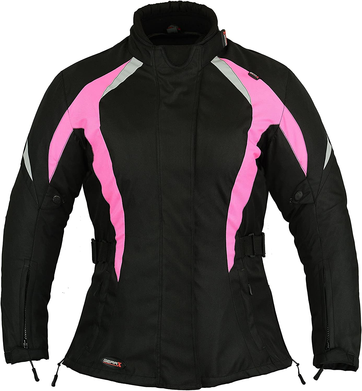 Shock Pink Womens Motorbike Protection Jacket Waterproof Black S