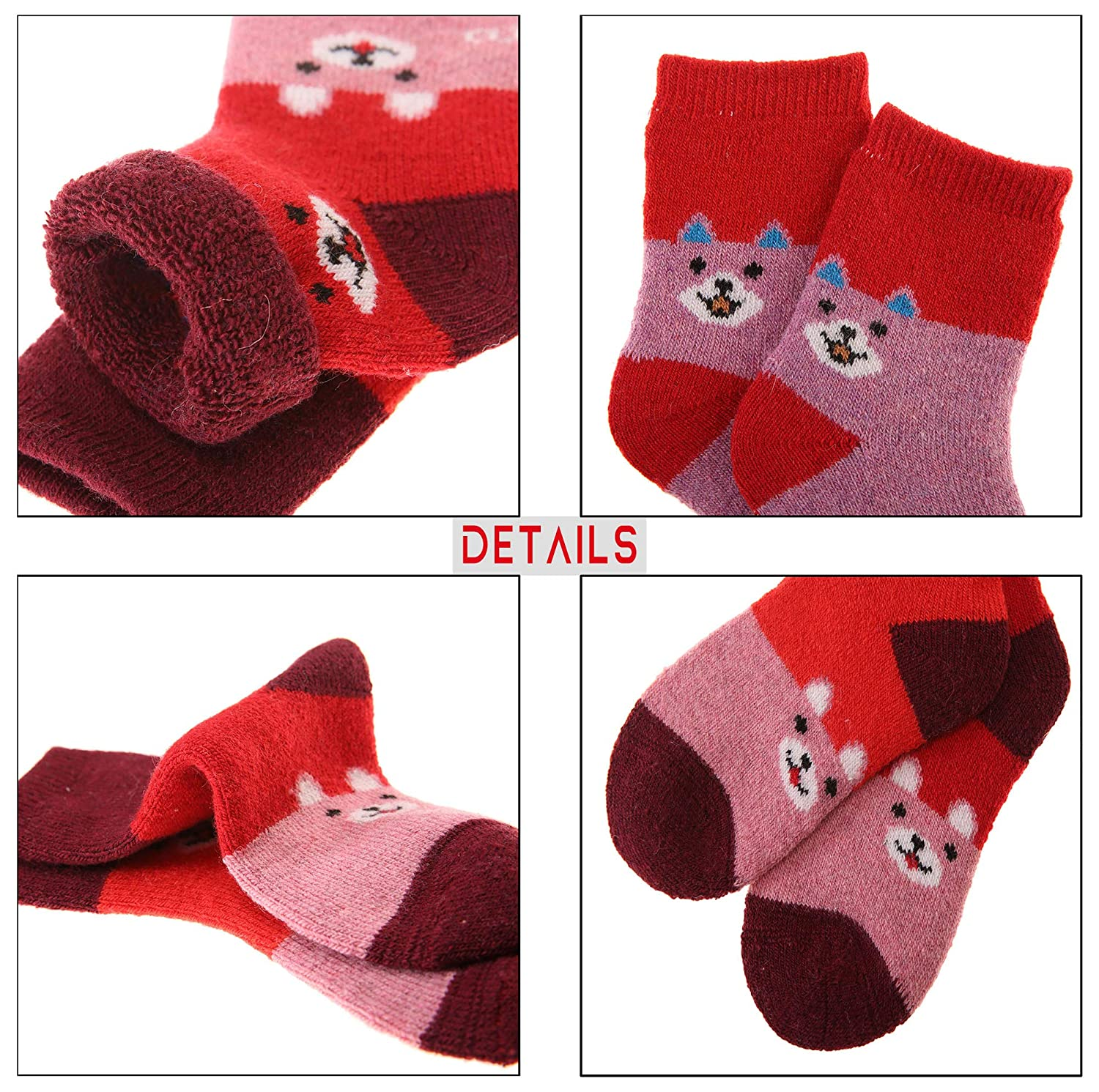 Children Soft Warm Thick Breathable Winter Socks Cute Animal Wool Kids Boy Girl Socks 6 Pairs