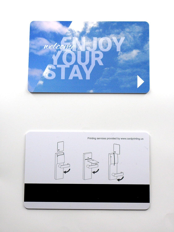 LoCo Magnetic Strip Hotel Room Key Card (Works On Standard Hotel Magstrip Locks) Pack of 200 (SKY) Cardprinting.us