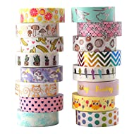 Aloha Washi Tape Set 16 Rolls of Decorative Masking Tape for Gift Wrapping, Bullet Journal, Day Planner 2018 Collection (16 Rolls)
