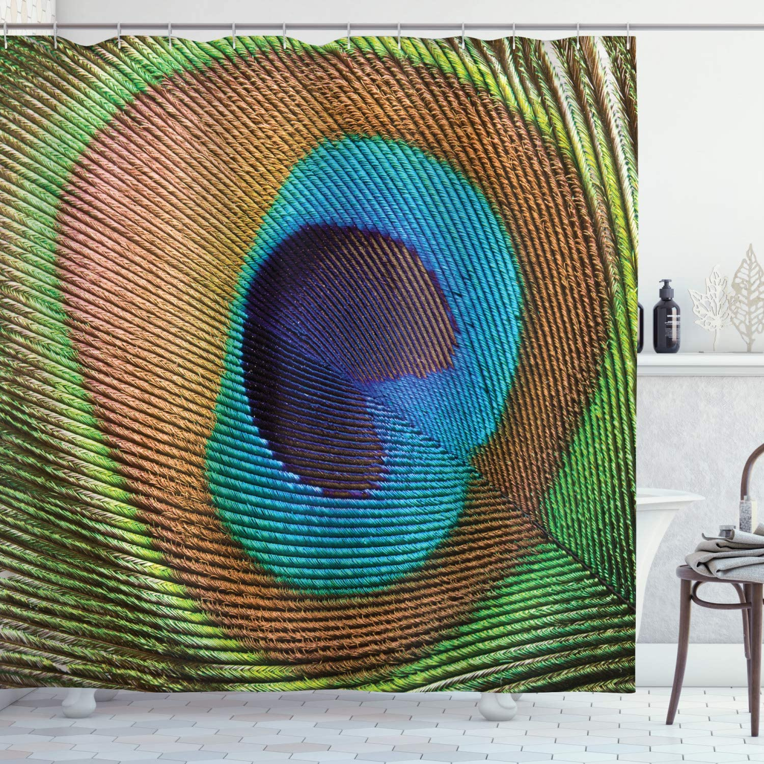 Ambesonne Peacock Shower Curtain, Macro Size Peafowl Feather Plume Realistic Exotic Animal Themed Pattern, Cloth Fabric Bathroom Decor Set with Hooks, 84