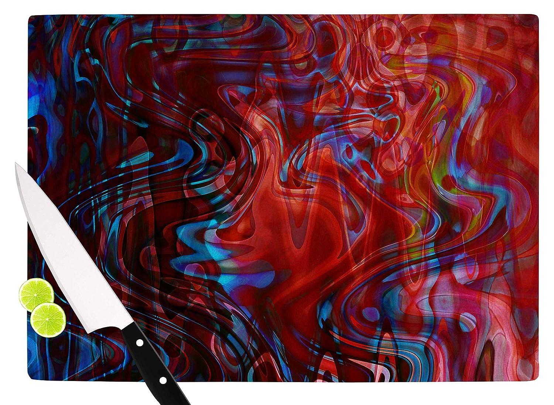Kessインハウスsc2188acb01 Suzanne Carter「フロー」レッドブルーカッティングボード、マルチ 11.5 x 15.75