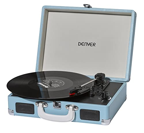 Denver VPL-120 Turquoise/Light Blue 3 Speed Vinyl Record Player with Stereo Speakers, Suitcase/Briefcase Style