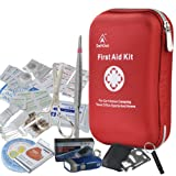 First Aid Kit - 163 Piece Waterproof Portable Essential Injuries & Red Cross Medical Emergency equipment kits : For Car Kitchen Camping Travel Office Sports And Home
