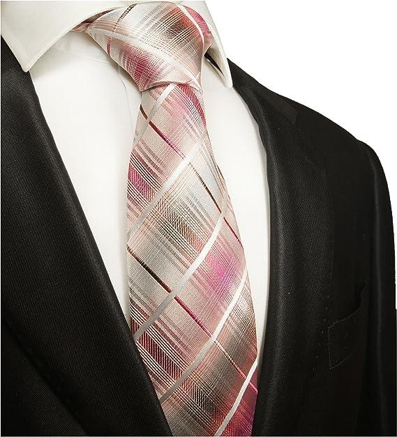 Paul Malone corbata de seda gris rosa a cuadros: Amazon.es ...