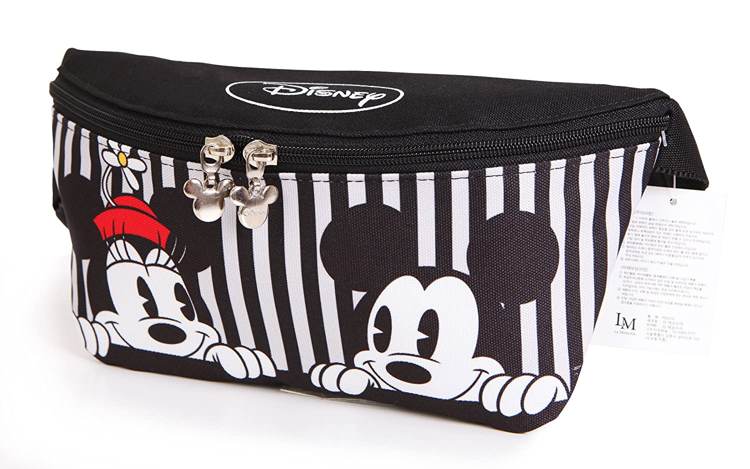 Disney Mickey Minnie Mouse Zippered Waist Fanny Pack Belly Bag for Travel Belt Bag (Stripe Mickey Minnie) La Memoria