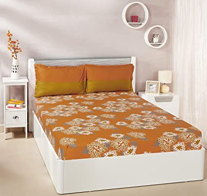 7e63865c291 Solimo Floral Flakes 144 TC 100% Cotton Double Bedsheet with 2 Pillow Covers