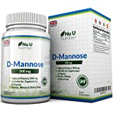 D-Mannose Tablets 500mg - 120 Tablets – High Strength - Allergen Free and Suitable for Vegetarians and Vegans – Not D-Mannose Capsules or Powder Made in the UK by Nu U Nutrition.