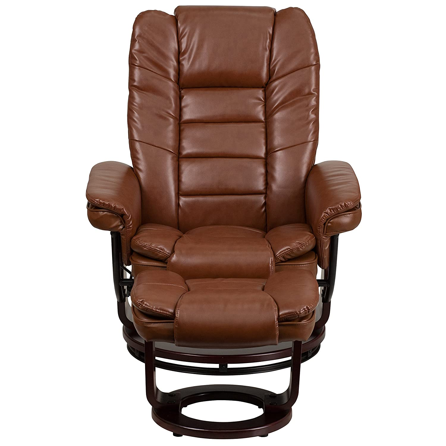 Amazon.com: Flash Furniture Contemporary Brown Vintage Leather Recliner And  Ottoman With Swiveling Mahogany Wood Base: Kitchen U0026 Dining