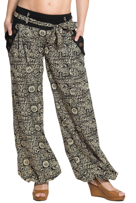 ufash Pantalón Harem de diseño Italiano, con cinturón de Tela a Juego, 100% algodón, Unisex para Hombre y Mujer - Muchos diseños Diferentes