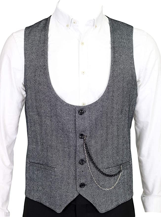 1920s Style Mens Vests Jack Martin - Black Herringbone Tweed Waistcoat £29.00 AT vintagedancer.com