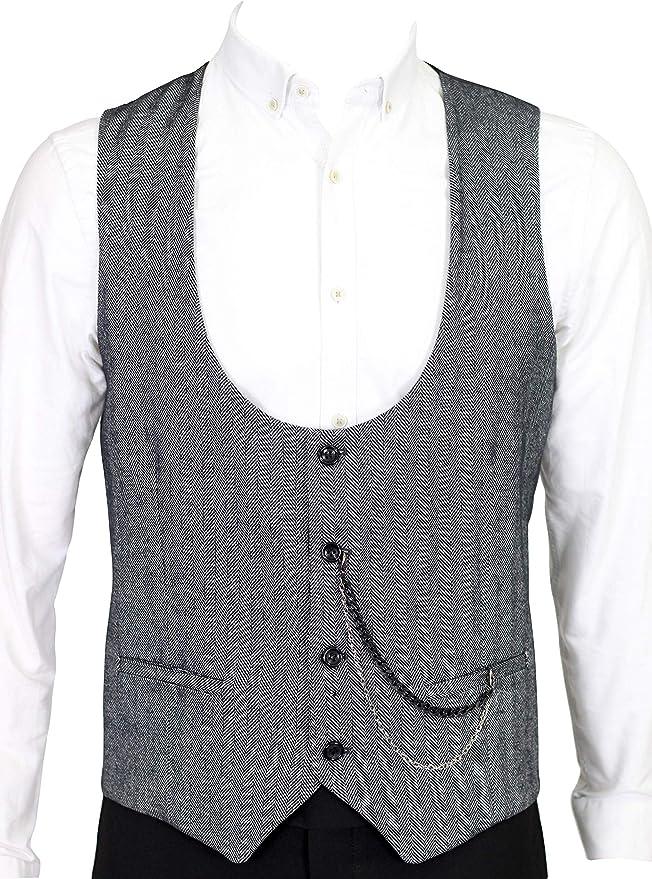 Men's Vintage Vests, Sweater Vests Jack Martin - Black Herringbone Tweed Waistcoat £29.00 AT vintagedancer.com