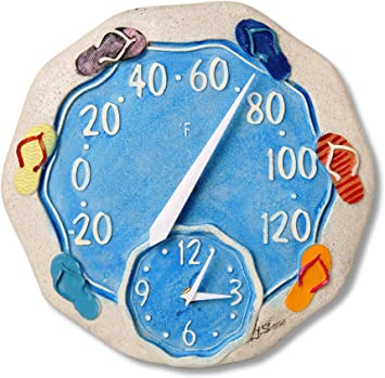 "Springfield Precision 92328 12/"" Poly Resin Clock with Thermometer Koi Fish LN™"
