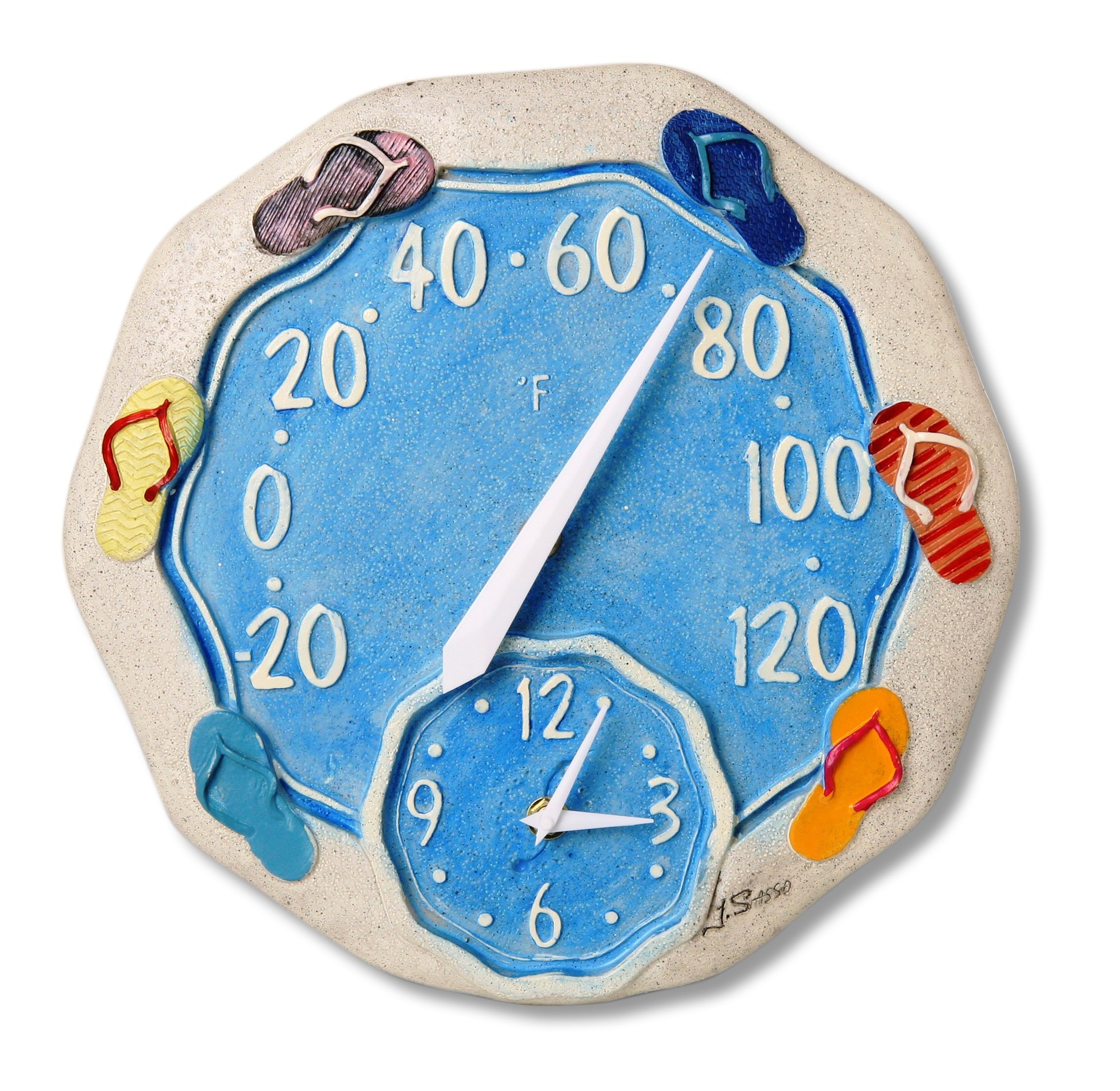 Springfield 12'' Sandals Poly Resin Thermometer with Clock by Taylor Precision Products