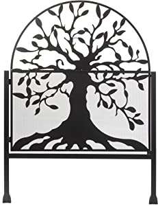 Plow & Hearth Arched Metal Garden Gate with Symbolic Tree of Life Design, Weather-Resistant Matte Black Powder-Coat Finish and Burnished Bronze Highlights, 36