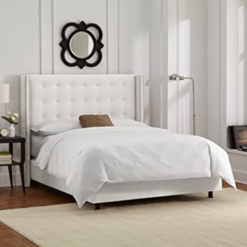 skyline furniture nail button tufted wingback queen bed in velvet white - Queen Bed Frame White