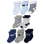Hudson Baby Basic Socks, 8 Pack, Aviator, 0-6 Months