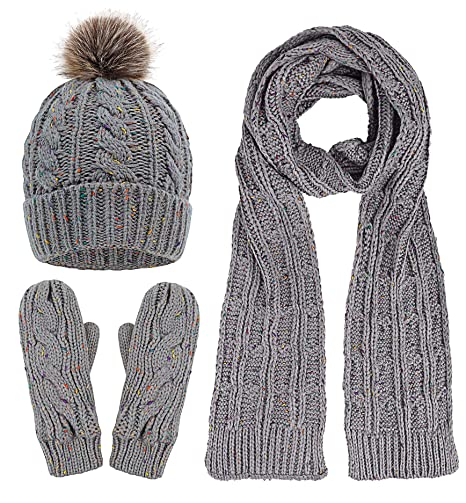 3952af4d2885e Verabella Women's Cable Knit 3 Piece Pompom Beanie Hat, Scarf & Mittens  Gloves ...