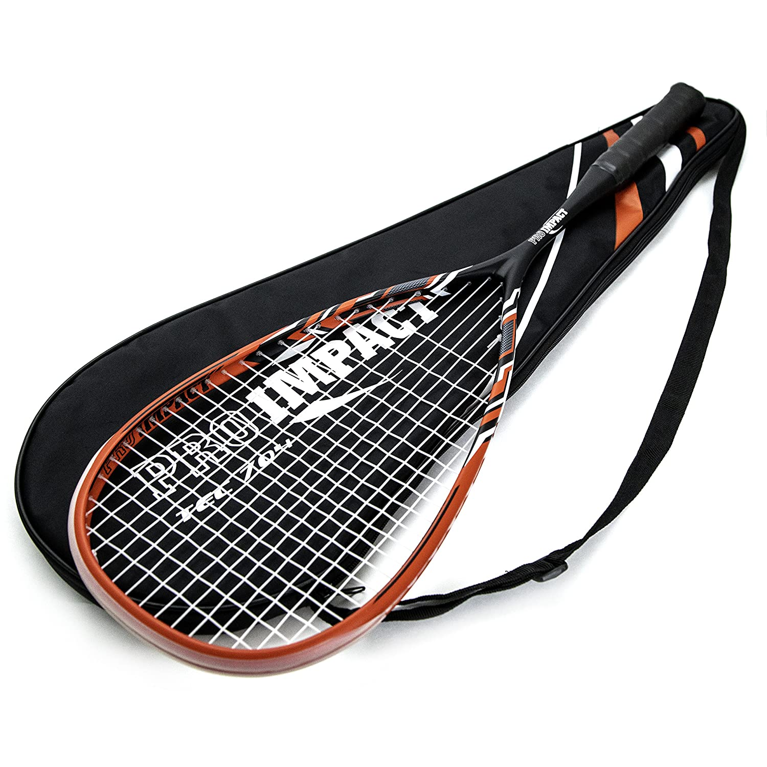Pro Impact Graphite Squash Racket Full Size with Carry On Cover and Durable Strings Made of Pure Graphite Designed to Improve Gameplay for All Skill Levels