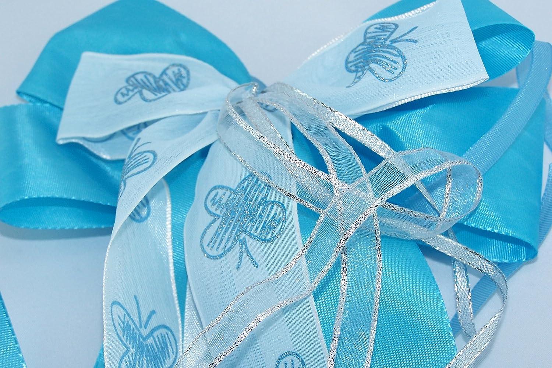 mit Schmetterlingen verzierte blaue Schleife f/ür die Einschulung zum ersten Schultag passend f/ür die Schult/üte