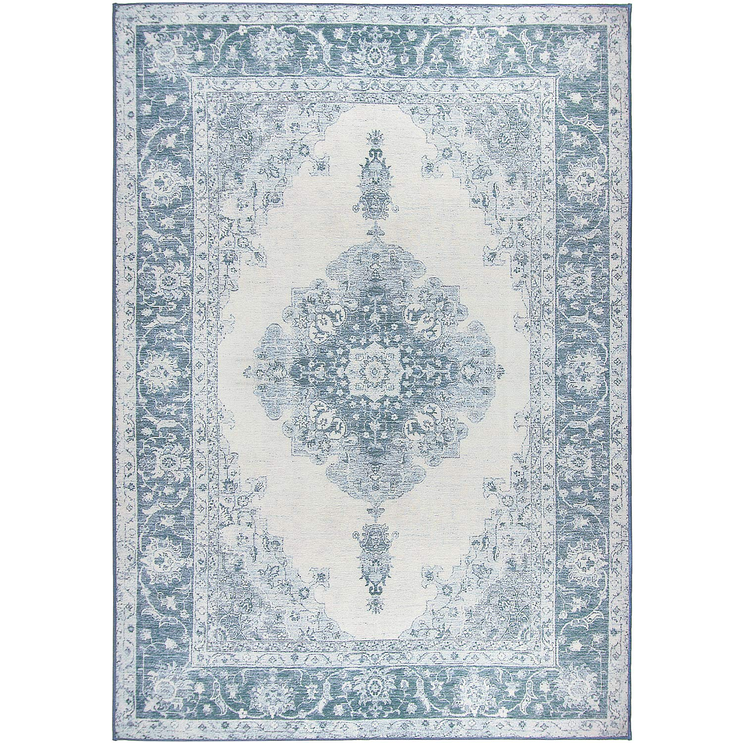 Washable Stain Resistant Indoor/Outdoor, Kids, Pets, and Dog Friendly Area Rug 5'x7' Parisa Blue