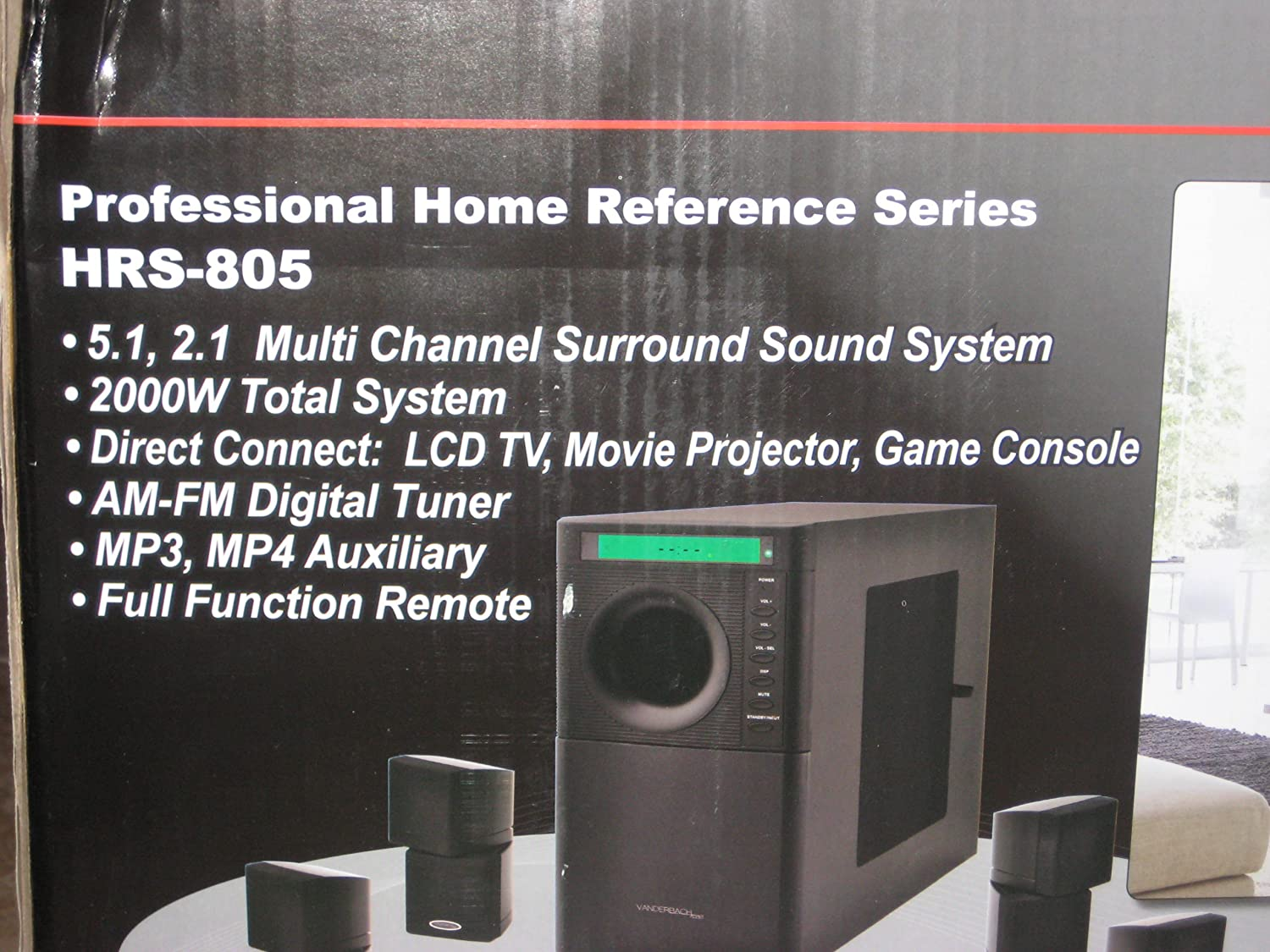 Vanderbach Audio 5 Speaker 5.1 2.1 Multi Channel Surround Sound System 2000w w/Remote AM/FM Turner MP3/MP4 Game, Projection/LCD Direct Connect Bass Woofer