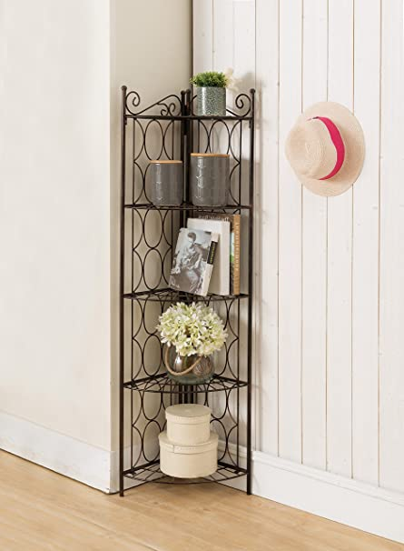 Brushed Copper Metal 5 Tier Corner Bookshelf Organizer Display Unit