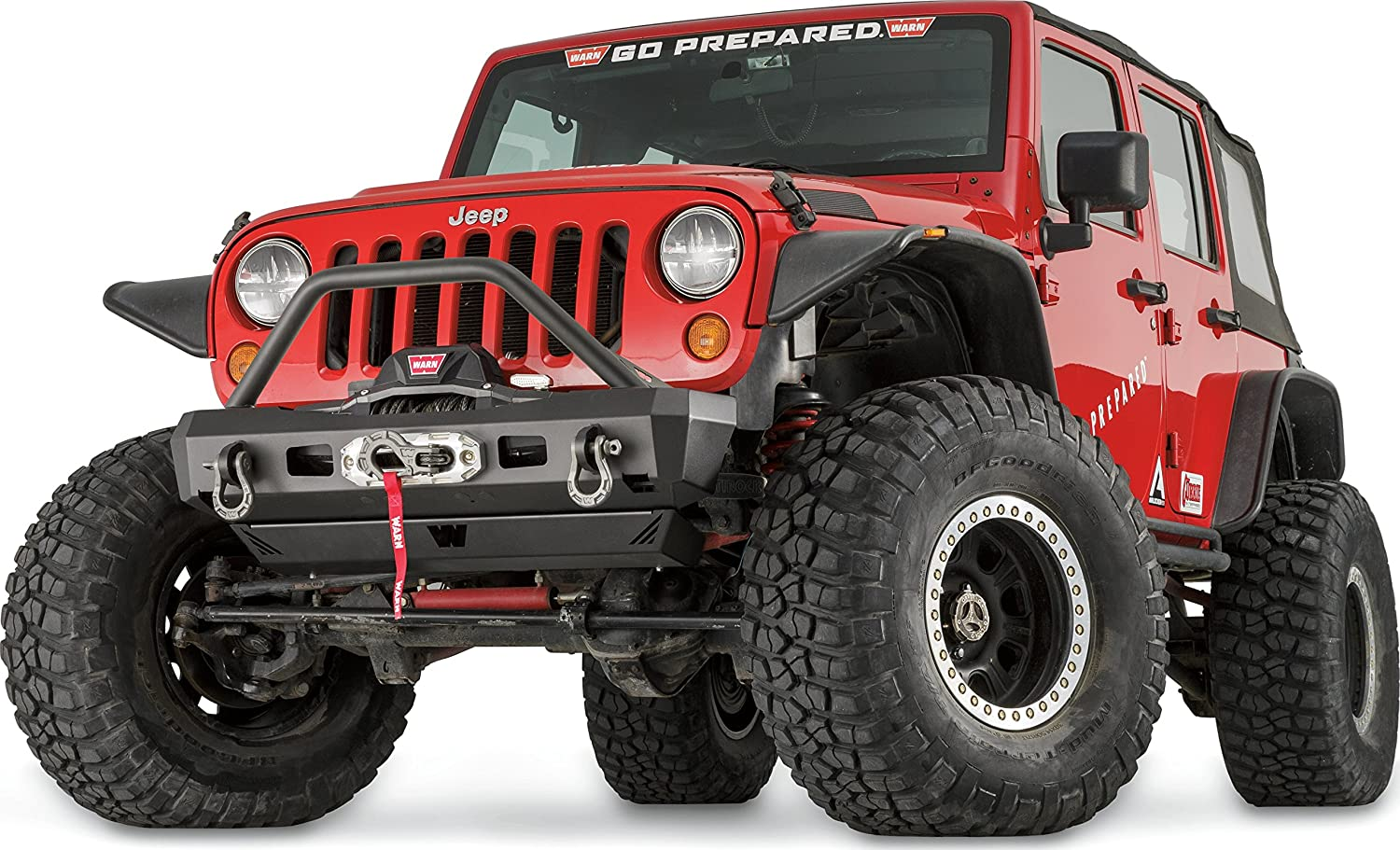 with Grille Guard Tube WARN 101465 Elite Series Full-Width Front Bumper for Jeep JK Wrangler