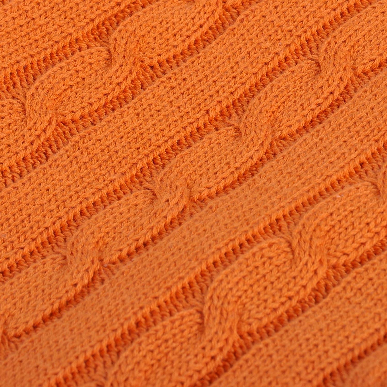 Arancia, 130 x 170 cm NTBAY Coperta da Lancio in Maglia di Cotone 100/% Super Morbida Calda Multicolore